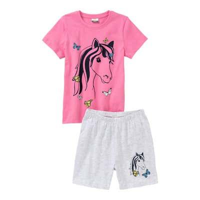 Mädchen-Shorty mit Pferde-Frontaufdruck, 2-teilig