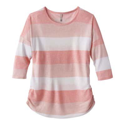 Damen-Shirt mit farbigen Blockstreifen