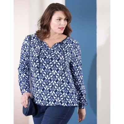 Damen-Bluse mit Schnürung am Ausschnitt, große Größen