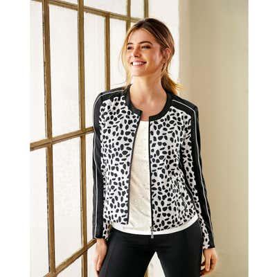 Damen-Jacke in Schwarz-Weiß-Optik