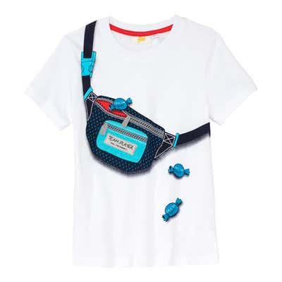 Jungen-T-Shirt mit Umhängetasche-Aufdruck
