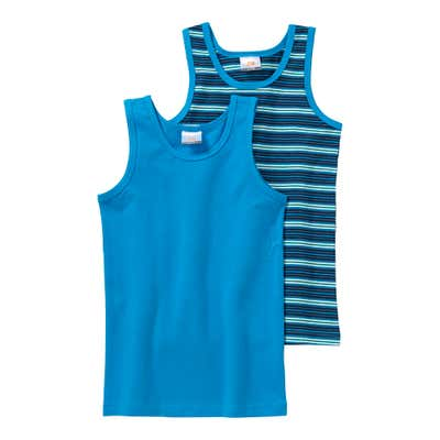 Jungen-Unterhemd mit Ringelmuster, 2er Pack