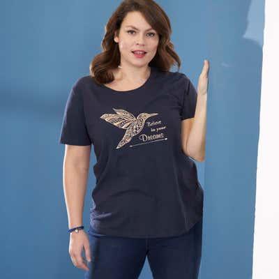 Damen-T-Shirt mit Kolibri-Frontaufdruck, große Größen