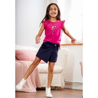 Kinder-Mädchen-T-Shirt und Rock-Shorts mit Wendepailletten, 2-teilig