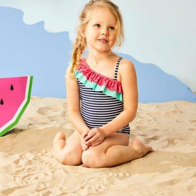 Mädchen-Badeanzug mit Streifen