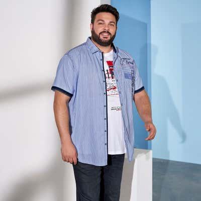Herren-Hemd mit Kontrast-Knopfleiste, große Größen