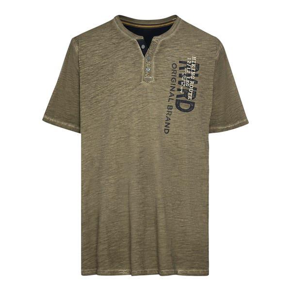 Herren-T-Shirt mit Henley-Ausschnitt, große Größen