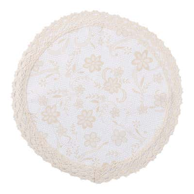 Jacquard-Deckchen mit Spitzenbordüre, Ø ca. 30cm