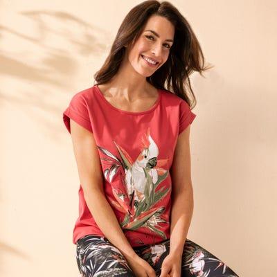 Damen-T-Shirt mit Glitzerdruck