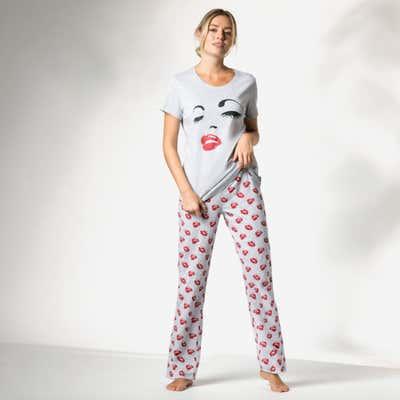 Damen-Schlafanzug mit Kuss-Muster, 2-teilig