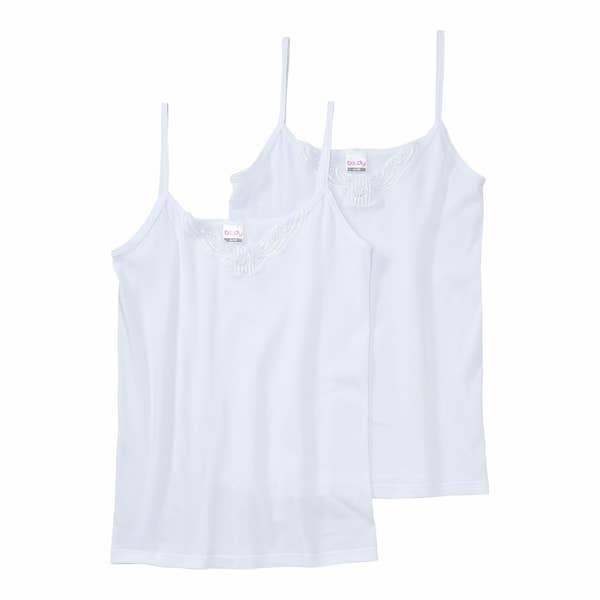 Damen-Unterhemd mit Spitze, 2er-Pack