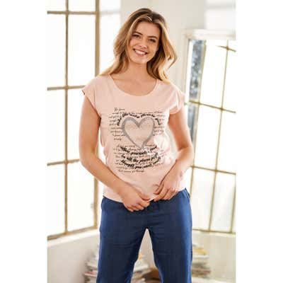 Damen T-Shirt mit Glitzerdruck