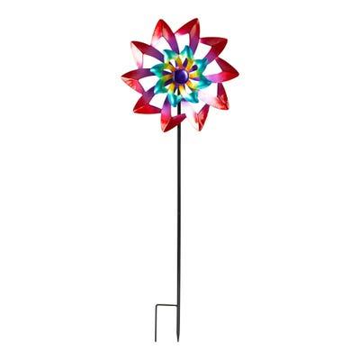 Gartenstecker mit farbenfrohem Windrad, ca. 30x9x89cm