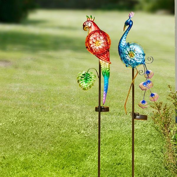 Deko-Papagei mit Solar-Licht, ca. 16x4x102 cm