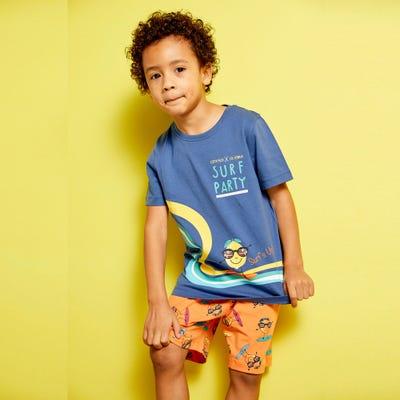 Jungen-Shorty mit Surfmotiv, 2-teilig