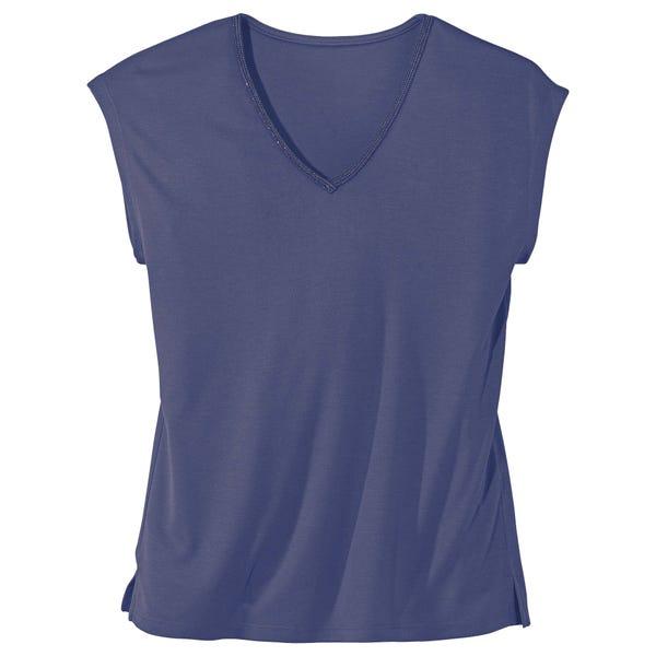 Damen-T-Shirt  mit Glitzer am Ausschnitt