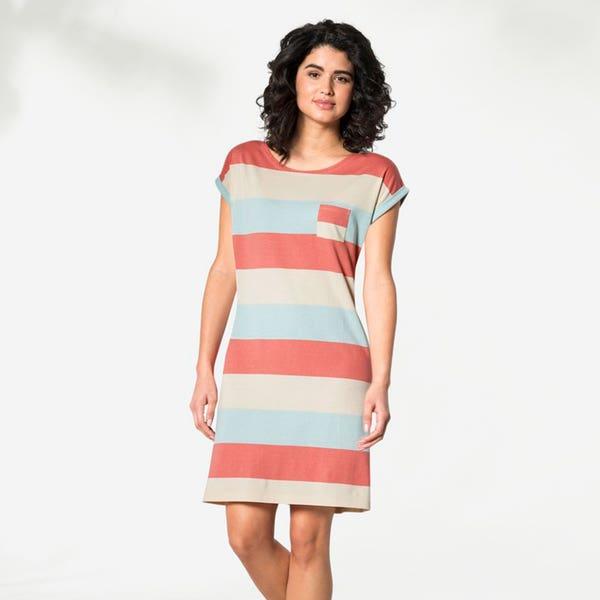 Damen-Nachthemd mit breiten Streifen