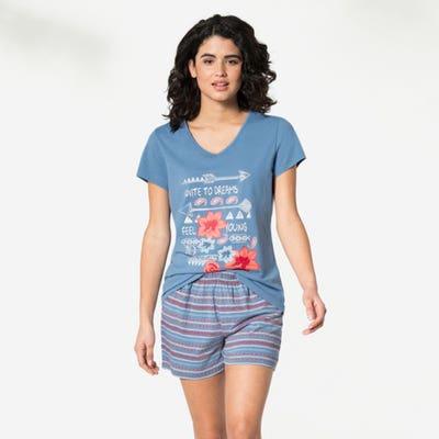 Damen-Schlafanzug mit großem Frontdruck, 2-teilig