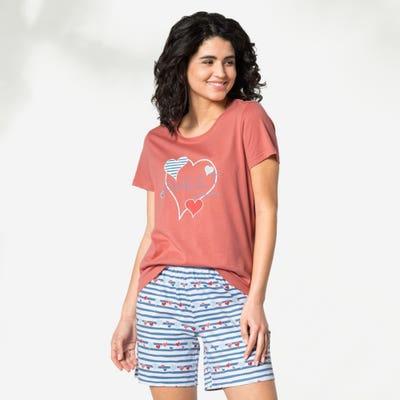 Damen-Schlafanzug mit Herzchen, 2-teilig