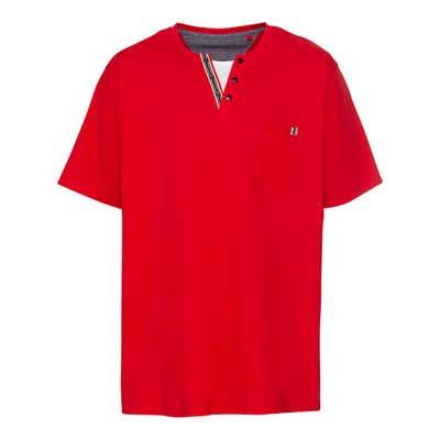 Herren-T-Shirt mit Serafino-Ausschnitt, große Größen
