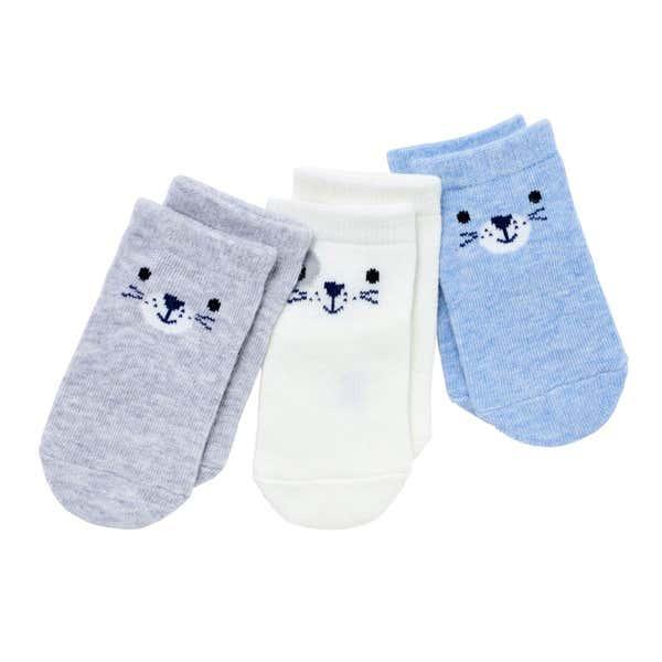 Baby-Jungen-Sneaker-Socken mit Gesichter, 3er-Pack