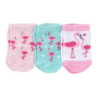 Baby-Mädchen--Socken mit Flamingo-Motiv, 3er-Pack