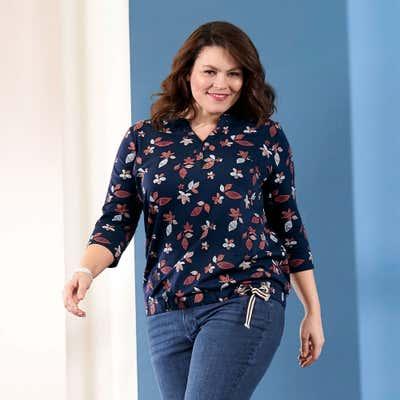Damen-Shirt mit V-Ausschnitt, große Größen