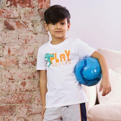 Jungen-T-Shirt mit Fußball-Aufdruck