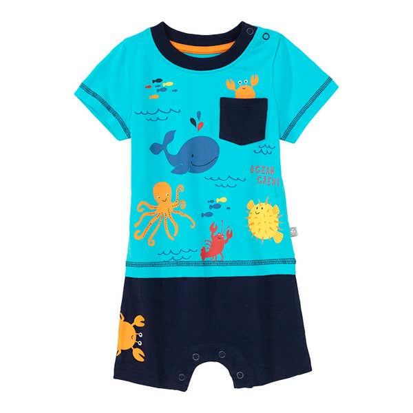 Baby-Jungen-Strampler mit Meerestieren