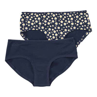 Damen-Panty mit Blumen-Muster, 2er-Pack