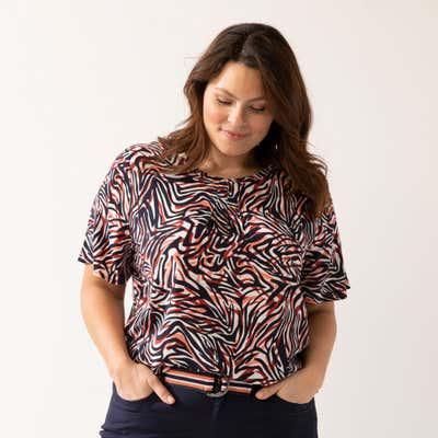 Damen-Bluse mit Animalprint, große Größen