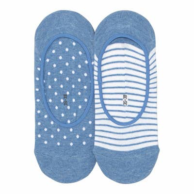 Damen-Füßlinge mit Mustern, 2er-Pack