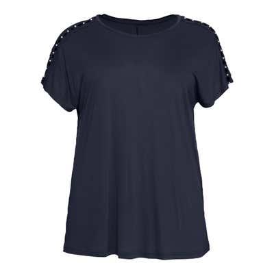 Damen-T-Shirt mit Perlen, große Größen