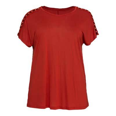 Damen-T-Shirt mit Spitze an den Schultern, große Größen