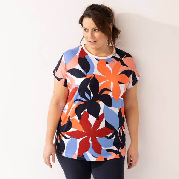 Damen-T-Shirt mit floralem Motiv, große Größen