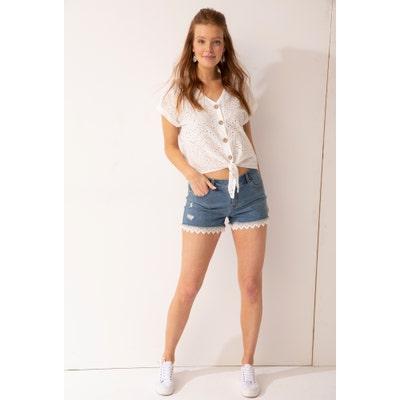 Damen-Jeans-Shorts mit Spitze