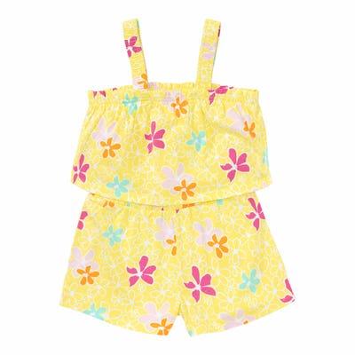 Mädchen-Jumpsuit mit Blumen-Muster