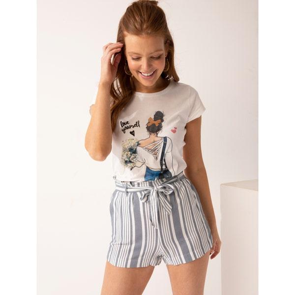 Damen-Shorts mit Streifen