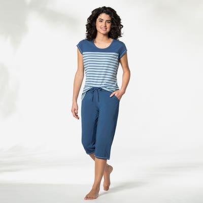 Damen-Schlafanzug mit Ringel-Muster, 2-teilig