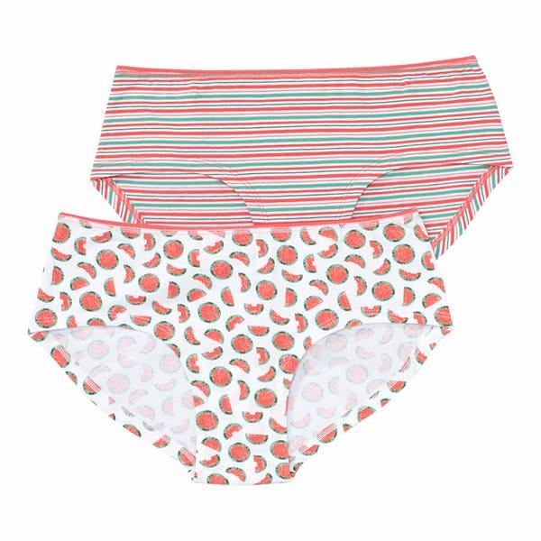 Damen-Panty mit Früchte-Aufdruck, 2er-Pack