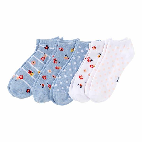 Damen-Sneaker-Socken mit Blumen-Muster, 5er-Pack