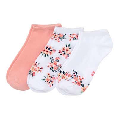 Damen-Sneaker-Socken mit Blumen-Muster, 3er-Pack