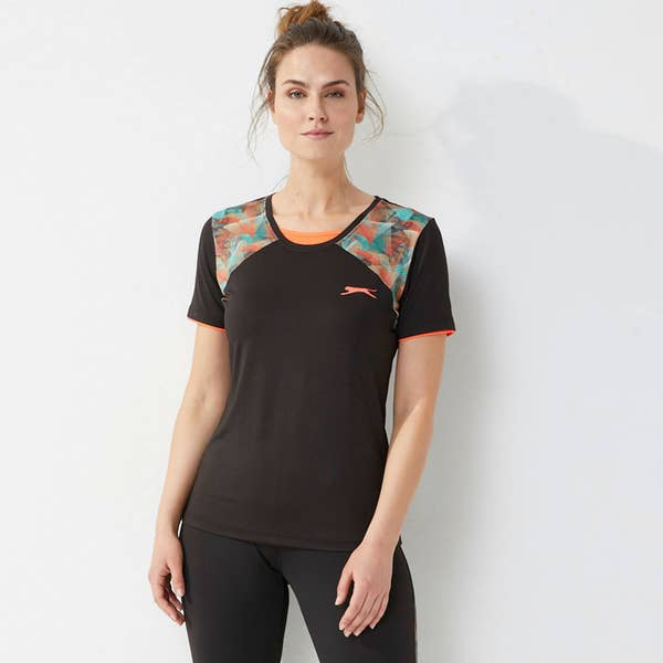 Slazenger Damen-Sport-T-Shirt mit Kontrasteinsätzen