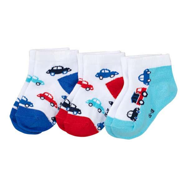 Baby-Jungen--Socken mit Auto-Motiv, 3er-Pack