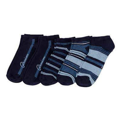 Herren-Sneakersocken gestreift, 5er-Pack