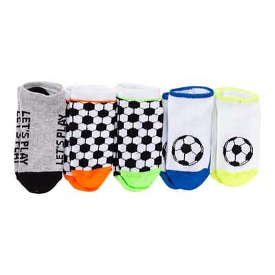 Jungen-Sneaker-Socken im Fußball-Design, 5er-Pack