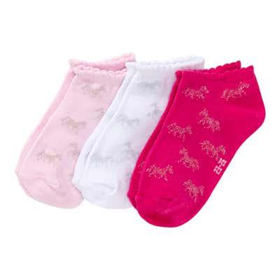 Mädchen-Sneaker-Socken mit Mäusezähnchen, 3er-Pack