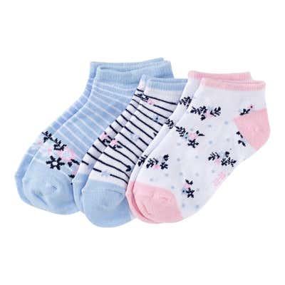 Mädchen-Sneaker-Socken mit Blumen-Mustern, 3er-Pack