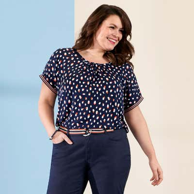 Damen-Shirt mit Punkten, große Größen