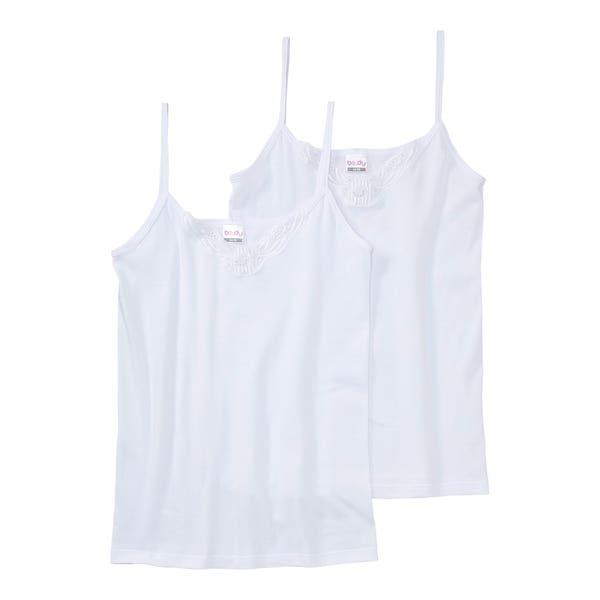 Damen-Achselhemd mit Stickerei, 2er-Pack